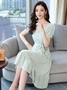 Wholesale Square Neck Binding Bow Chiffon Dress from China to Japan Modest Outfits, Classy Outfits, Casual Dresses, Girls Dresses, Korean Fashion Dress, Fashion Dresses, Frock For Teens, Casual Frocks, Wholesale Fashion