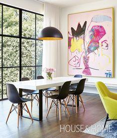 The best way to make a grand statement in a dining room: art. | Design: Stephanie Pellatt, Pivot Design; Leanne Tammaro and Adolphina Karachok, Designtheory | Photo: Valerie Wilcox