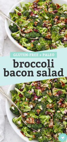 Broccoli Bacon Salad - This classic broccoli salad is one of my favorite summer salads for barbecues, picnics, and potlucks. (Gluten-Free, Paleo-Friendly) // Paleo Broccol Salad // Gluten-Free Broccoli Salad // Summer Side Dish #broccolisalad #broccoli #bacon #summersalad #summer Paleo Salad Recipes, Mexican Food Recipes, Vegetarian Recipes, Healthy Recipes, Broccoli Salad Bacon, Bacon Salad, Barbecues, Potlucks, Clean Eating Recipes