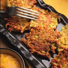 22 Tumeric Recipes--- Pictured: Golden Turmeric Latkes with Applesauce