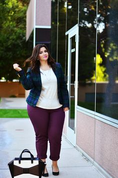 crystal coons sometimes glam ootd plus size ootd fall ootd colored merlot plaid blazer jcrew eloquii