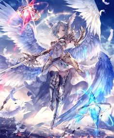 Card: Aether of the Warrior Wing Anime Art Fantasy, Art Anime, Fantasy Kunst, Dark Fantasy Art, Anime Artwork, Anime Art Girl, Fantasy Artwork, Anime Girls, Anime Angel Girl
