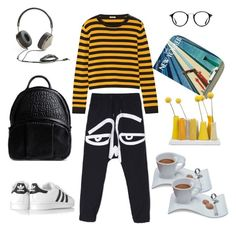 """Morning coffee."" by amberjak ❤ liked on Polyvore featuring Miu Miu, adidas Originals, Frends, Alexander Wang, Villeroy & Boch, Ray-Ban and Dot & Bo"