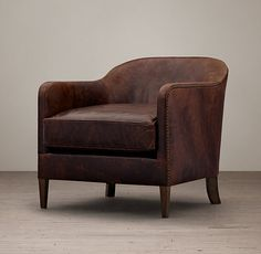 1950s French Tuxedo Leather Club Chair - Italian Brompton Cocoa - Restoration Hardware