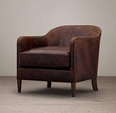1950s French Tuxedo Leather Club Chair - Italian Brompton Cocoa - Restoration Hardware