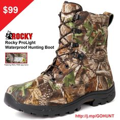 Checkout our Pro Waterproof Hunting Boots http://j.mp/GOHUNT Featuring REALTREE APG Camo for $99! w/ FREE SHIPPING