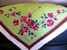 Vintage Chartreuse Green Tablecloth with Red Roses