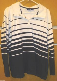 BASIC EDITIONs - Nautical White & Navy Top Shirt Size 1X #BasicEditions…