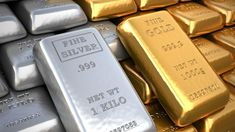 Silver ingot and gold bullion. Silver ingot and gold bulli , Gold And Silver Prices, Silver Shop, Gold Futures, Silver Market, Silver Ingot, Commodity Market, Metal Prices, Gold Rate, Personal Finance