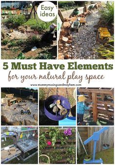 5 easy essential elements to add to your outdoor play space - without spending to much! See how easy it is over at Mummy Musings and Mayhem natural playground ideas 5 Important elements to include in your natural outdoor play space Outdoor Learning Spaces, Kids Outdoor Play, Outdoor Play Areas, Backyard For Kids, Outdoor Fun, Natural Outdoor Playground, Kids Play Spaces, Kids Play Area, Daycare Spaces