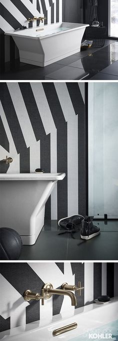 Black and white stripes provide an energizing and bold backdrop to a bathroom space that's all about clean lines and precise angles.