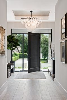 Stylish Entryway Ideas for a Beautiful First Impression - jane at home Farrow & ., Stylish Entryway Ideas for a Beautiful First Impression - jane at home Farrow & Ball Ammonite gray on the walls and Pigeon on the front door, combined. Entry Way Design, Foyer Design, Front Door Design, Design Table, Design Room, House Front Door, Glass Front Door, House Doors, Mediterranean Decor