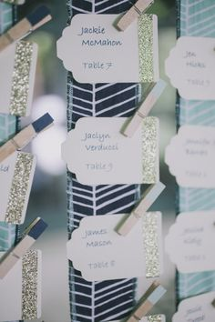 Hanging ribbon escort card display