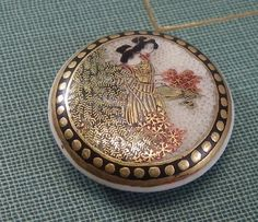 SATSUMA BUTTON, Late 19th or Early 20th Century Antique