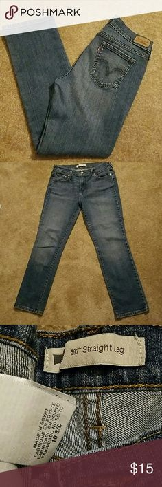Levi's straight leg 505 size 10 or 31 inch waist Used pair of Levi's.  Broken in with fading.  Waist measures approximately 31 inches.  Inseam measures approximately 29 1/2 inches. Levi's Jeans Straight Leg