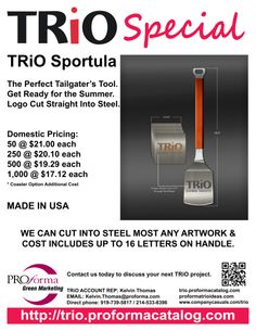 With the weather warming, we had to send get this out to TRiO. Below is flyer for TRiO Alumni Sportula and matching coasters. Normally the Sportula is done for sport teams or colleges, see retail site at http://www.sportula.com, and is aimed at the tailgating crowd. Recently these items have become available to the promotional items market. We think custom Sportula would be a home run at any TRiO awards, cooking, or sport theme event. The Sportula is steel and lasts forever.