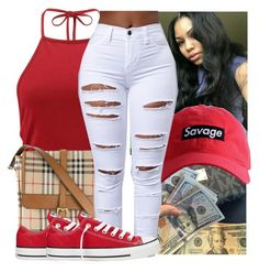 by kodakdej on Polyvore featuring polyvore moda style Boohoo Converse Burberry fashion clothing