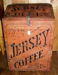 Old painted advertising coffee bin.