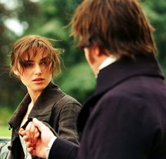 """They don´t really touch. Women don´t shake hands with men. So the first time Darcy touches Elizabeth is when he helps her into the carriage. Which is a really beautiful moment. Because it's the first skin-on-skin touch.  I think today, we don´t think twice about that at all. I shake people´s hands, I give them a kiss, whatever. It´s interesting to think, if you don´t have that tactile nature, how important one touch can be.""  (Keira Knightley)"