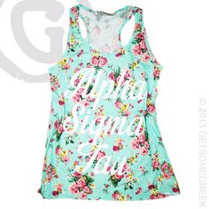 ALPHA SIGMA TAU CUSTOM GROUP ORDER ON ADORABLE FLORAL TANK TOPS FROM GETSOMEGREEK GSG!!