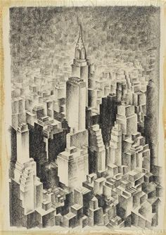 New York Cityscape Drawing by F.V. Carpenter, 1932 Amazing abstract depiction of Midtown featuring the Chrysler Building and the Chanin Building. (I wish Tumblr didn't blow up the size above the...