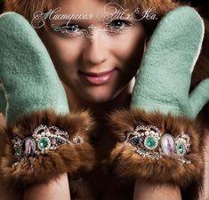 "Купить Валяные варежки с манжетами из соболя ""Северное сияние"" - мятный, валяные рукавички, валяные варежки Bead Jewellery, Beaded Jewelry, Jewelery, Handmade Jewelry, Beads Clothes, Sweater Mittens, Fur Accessories, Felted Slippers, Russian Fashion"