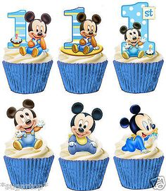 30 Mickey Mouse 1st First Birthday Stickers Lollipop Labels Party