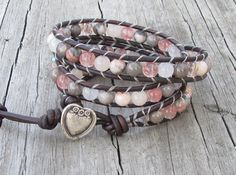 3X Leather Wrap with Pink Zebra Jasper, Cherry & Snow Quartz, Peach Aventurine, Czech glass, natural grey leather cord