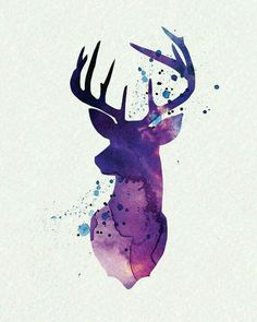 Purple Deer Aquarell Wandkunst von watercolormagazine - Tattoo Crafts - Garden Decor DIY - DIY Bathroom Ideas - Formal Hairstyles - DIY Jewelry To Sell Watercolor Deer, Watercolor Paintings, Deer Paintings, Tattoo Watercolor, Watercolor Design, Deer Drawing, Painting & Drawing, Drawing Animals, Arte Do Harry Potter