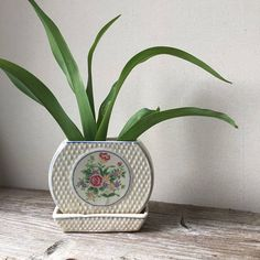 Art Deco Planter | Ceramic Plant Pot With Attached Drip Tray | Floral Motif Planter | Ivy Pot | Cottage Chic Decor | Mother's Day