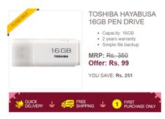 Ebay Flash Sale: Toshiba 16 GB Pendrive for Rs 99 only ( New users only )