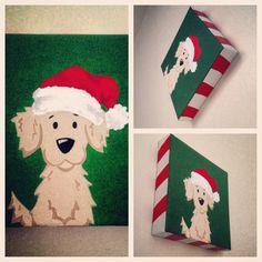 8x8 Christmas Golden Retriever Santa Claus Original Acrylic Painting on Canvas.