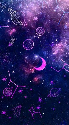 Purple Galaxy Wallpaper, Galaxy Wallpaper Iphone, Night Sky Wallpaper, Planets Wallpaper, Wallpaper Space, Anime Wallpaper Live, Emoji Wallpaper, Cute Wallpaper Backgrounds, Aesthetic Iphone Wallpaper