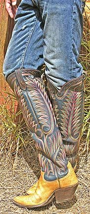 1) TAKE A DEEP BREATH! 2) PULL ON! EXQUISITE, RIDICULOUSLY TALL, CUSTOM-DESIGNED PAUL BONDS! AUG. '17. Custom Cowboy Boots, Custom Boots, Western Boots, Man Boots, Cool Boots, Riding Boots, Leather Trousers, Leather Boots, Mens Heeled Boots