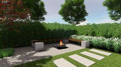 A good landscape design should be usable and function for the client in the evening too. Fire pits in the landscape design are become more common.