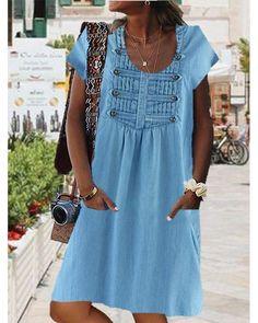 Women Casual Vintage Solid Color Dress Plus Dresses, Casual Dresses For Women, Short Sleeve Dresses, Clothes For Women, Short Sleeves, Floryday Vestidos, Plus Size Casual, Online Dress Shopping, Dress Brands