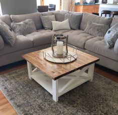 A clean looking square farmhouse coffee table, with solid construction. We offer… A clean looking square farmhouse coffee table, with solid construction. We offer… – Home Living Room, Apartment Living, Living Room Designs, Living Room Furniture, Living Room Decor, Cozy Apartment, Large Coffee Tables, Diy Coffee Table, Decorating Coffee Tables