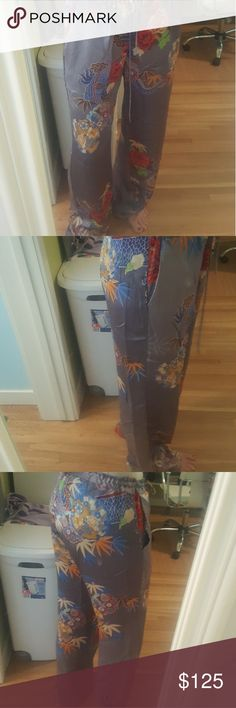 Johnny Was pants 100 % silk drawstring , size small Johnny Was Pants Straight Leg
