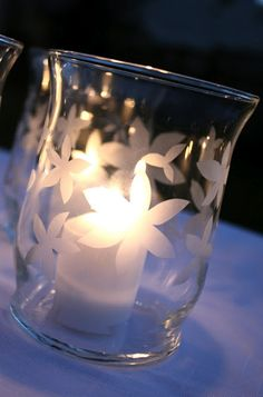 "DIY ~ Etched Hurricane Glass Table Votive...after event, makes for a great ""Thank You"" gift for the Wedding Party"