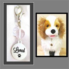 "Clear Quartz Dog Collar Charm, Pet Charm, Dog Collar Pendant ""loved"", Dog Bling, Dog Jewelry, Pet Accessories, Gemstone Dog Collar Charm by RBeadDesigns"