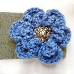 Winter Headband Ear Warmer Grey with Blue Crocheted Flower