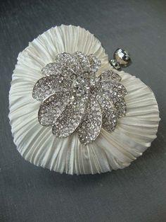 Heart Shaped Diamante Bridal Handbag