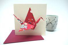 """Carte double origami - grue en papier japonais """"fuchsia"""" - Carte de naissance ou d'anniversaire"""