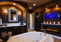 Tv In Bathroom Ideas Beautiful Decorating Ideas Luxury Bathroom Marble with Fireplace and Tv Tv In Bathroom, Bathroom Fireplace, Moroccan Bathroom, Dream Bathrooms, Beautiful Bathrooms, Bathroom Interior, Master Bathrooms, Bathroom Ideas, Bathroom Marble