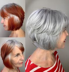 silver hair highlights Vibrant red to icy silver transformation. Vibrant red to icy silver transformation. Red Hair To Silver, Red Hair To Grey, Grey Hair Care, Short Grey Hair, Short Hair Styles, Lilac Hair, Pastel Hair, Green Hair, Grey Hair Colors