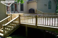 wide stairs going down to the second deck Multi Level Deck Picture Gallery