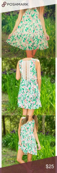 Floral boho dress Tiered garden dress with crochet back detail. Perfect for spring! From Mint Julep NWOT Dresses