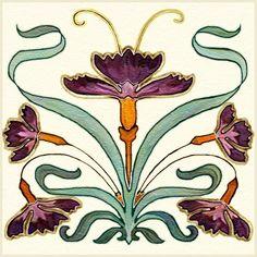 Nouveau Artistic Tile, Decorative Tile Designs by Connie's Custom Creations Fleurs Art Nouveau, Motifs Art Nouveau, Azulejos Art Nouveau, Design Art Nouveau, Motif Art Deco, Art Nouveau Flowers, Art Nouveau Pattern, Art Nouveau Tiles, Art Nouveau Wallpaper