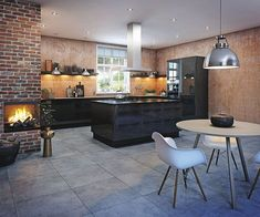 fireplace in the kitchen - nice!