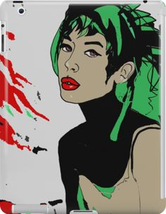 """Mixed Media illustration of a Cyber Punk Girl. Cyberpunk is a subgenre of science fiction in a future setting that tends to focus on society as """"high tech low life"""" featuring advanced technological and scientific achievements, such as information technology and cybernetics, juxtaposed with a degree of breakdown or radical change in the social order."""
